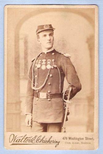 Massachusetts Boston Cabinet Card Gentleman posing in dress uniform of The~1