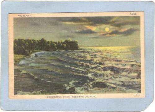 New York Keeseville Greetings From Keeseville N Y Moonlight ny_box5~1377