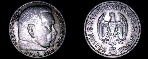 1936-D German 5 Reichsmark World Silver Coin - Germany 3rd Reich