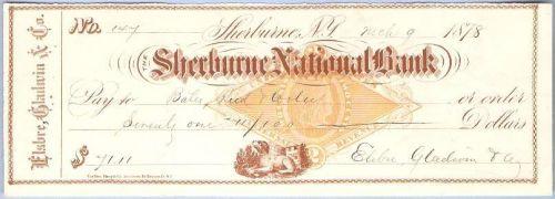 New York Shelburne Cancelled Check Shelburne National Bank Check #147 Date~48