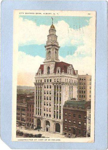 New York Albany City Savings Bank Street Scene w/Old Cars ny_box2~360