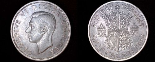 1948 Great Britain 1/2 Crown World Coin - UK - England