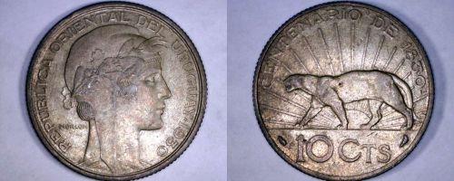 1930-A Uruguay 10 Centesimo World Coin