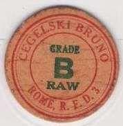 New York Rome Milk Bottle Cap Name/Subject: Cegelski Bruno Grade B Raw~38