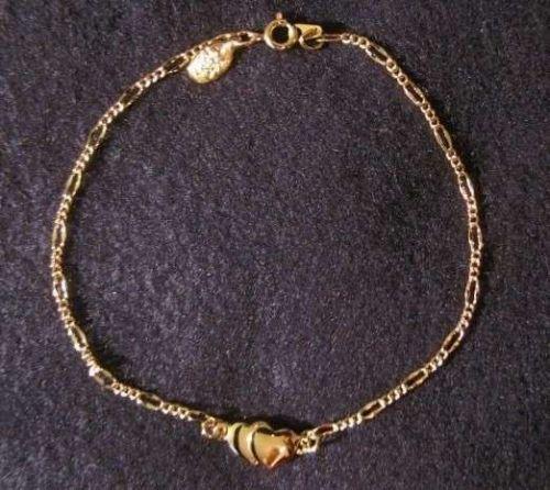 "Sarah Coventry Jewelry..Heart Ankle Bracelet 9 1/4"" (Sarah's Secret) #1822"