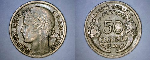 1941 French 50 Centimes World Coin - France