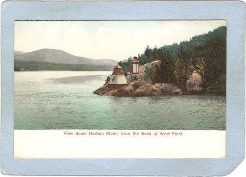 New York West Point Lighthouse Postcard View Down Hudson River From The Be~773