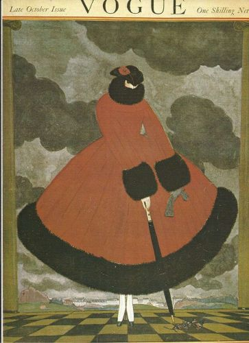 Vogue 1916 Cover Print Lady Red Fur Coat Fashion Art Deco 1984 original print