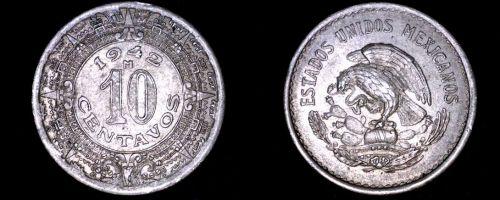 1942 Mexican 10 Centavo World Coin - Mexico