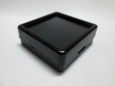 20 pcs Gem Tool Display Boxes Square Black Boxes + Lids Top Glass 4 x 4 x 1.5 cm