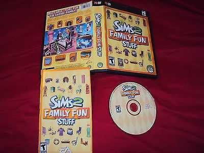 SIMS 2 FAMILY FUN STUFF PC DISC MANUAL ART CASE NEAR MNT TO VERY GOOD