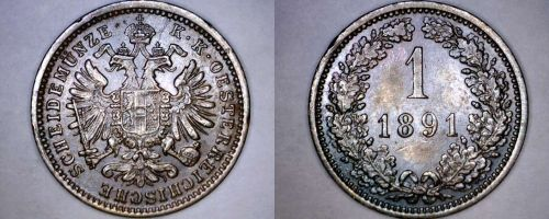 1891 Austrian 1 Kreuzer World Coin - Austria