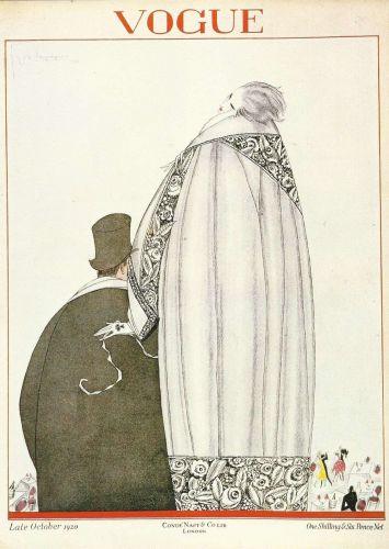 Vogue 1920 Cover Print Man Lady Fashion Suit Fur Art Deco 1984 original print