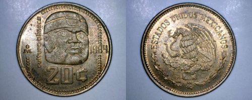 1984 Mexican 20 Centavo World Coin - Mexico