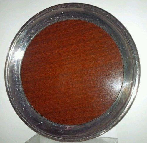 Crescent Silverplate Wood Grain Formica Round Tray Mid Century-Vintage