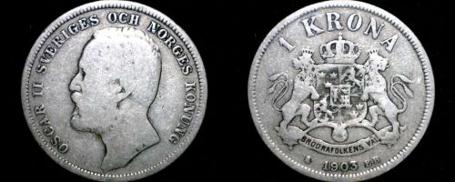 1903 Sweden 1 Kronor Krona World Silver Coin