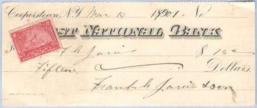 New York Cooperstown Cancelled Check First National Bank Check # Dated: Ma~47