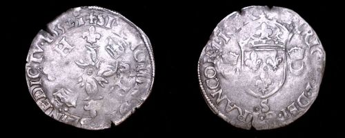 1552-S French Douzain Aux Crescent World Coin - France Henry II