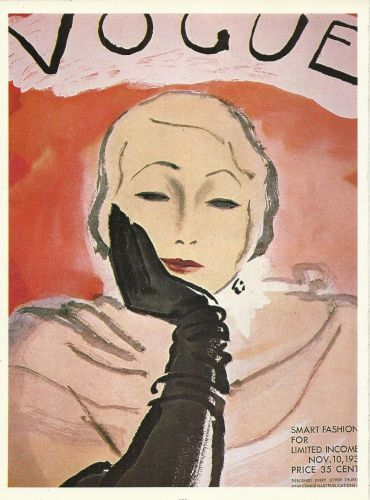 Vogue 1930 Cover Print Smart Fashion Gloves Art Deco 1984 original print