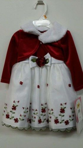Youngland Baby Girls 4Pc Shrug Set W/ Detachable Faux Fur Collar SZ 12 Months R