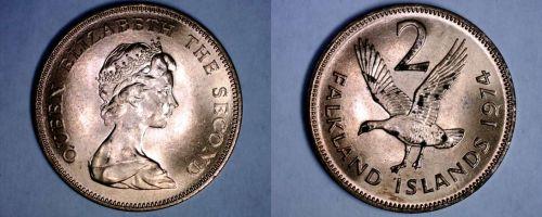 1974 Falkland Islands 2 Pence World Coin - Upland Goose