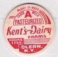 New York Olean Milk Bottle Cap Name/Subject: Kent's Dairy Farms Grade A Mi~138