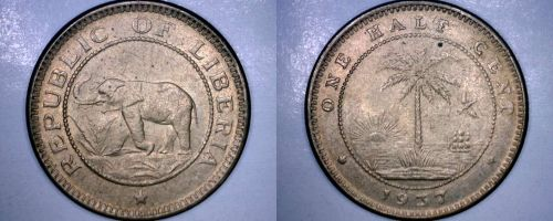 1937 Liberian Half (1/2) Cent World Coin - Liberia