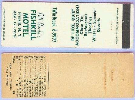 New York Fishkill Matchcover Advertising Bill Bardos Fishkill Motel Fishki~137