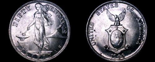 1944-S Philippino 50 Centavo World Silver Coin - Philippines U.S. Admin