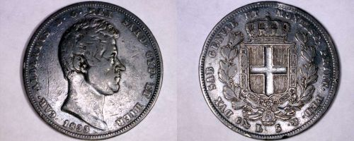 1833 Italian States Sardinia 5 Lire World Silver Coin - Toned