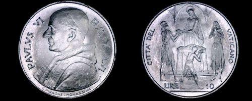 1968 Vatican City 10 Lire World Coin - Catholic Church Italy