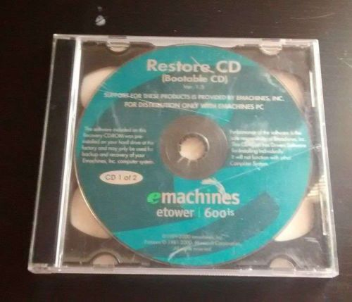 Windows, eMachines 600i PC Computer Bootable Factory Restore CD