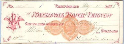 New York Vernon Cancelled Check National Bank of Vernon Check #560 Dated: ~24