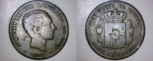 1877-OM Spanish 10 Centimos World Coin - Spain