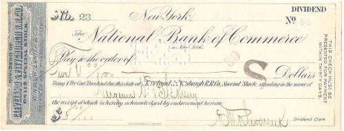 New York New York Cancelled Check National Bank Of Commerce Check #23 Date~85