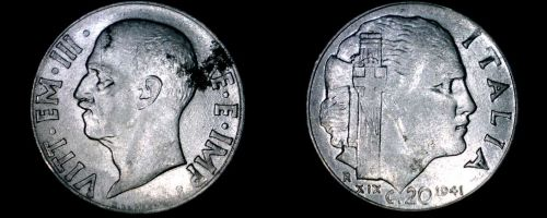 1941-R Italian 20 Centesimi World Coin - Italy