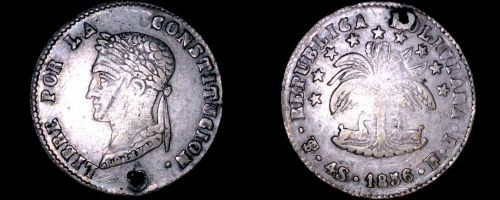 1856-PTS FJ Bolivian 4 Soles World Silver Coin - Bolivia - Holed - Overstrike