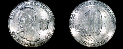 2000 Ecuadorian 10 Centavo World Coin - Ecuador