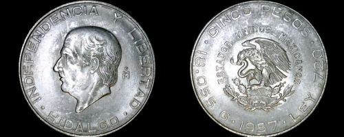 1957 Mexican 5 Peso World Silver Coin - Mexico