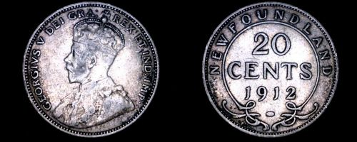 1912 Newfoundland 20 Cent World Silver Coin - Canada