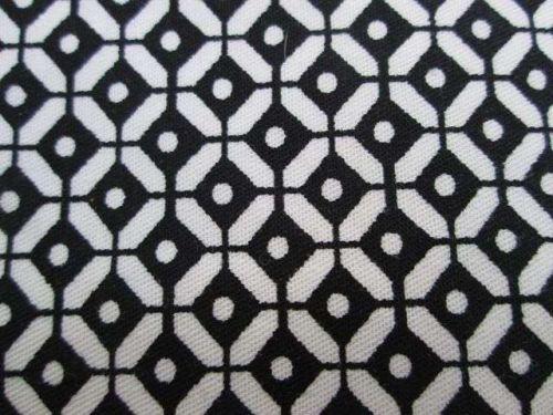 "Black & White Geometric Eyes Cotton Upholstery Fabric 59"" Half meter 50 x 150 cm"