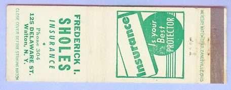 New York Walton Matchcover Advertising Frederick I Sholes Insurance 125 De~136