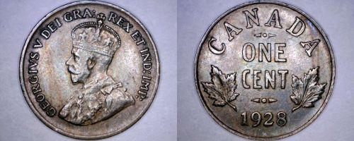 1928 Canadian 1 Small Cent World Coin - Canada