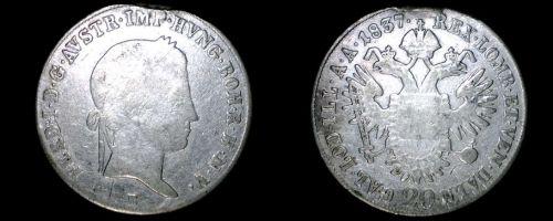1837-B Austrian 20 Kreuzer World Silver Coin - Austria