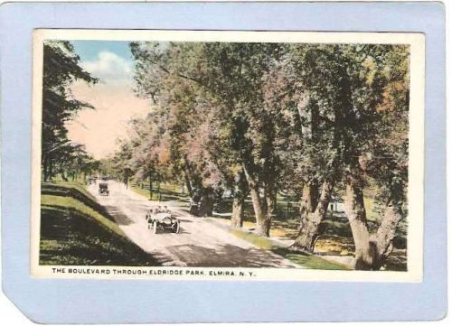 New York Elmira The Boulevard Through Eldridge Park Street Scene w/Old Car~984