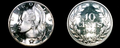 1968 Liberian 10 Cent Proof World Coin - Liberia