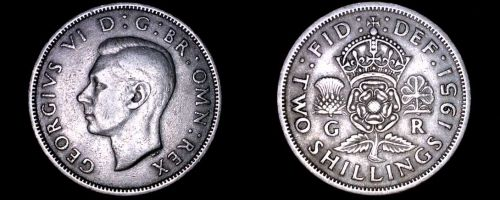 1951 Great Britain Florin World Coin - UK - England