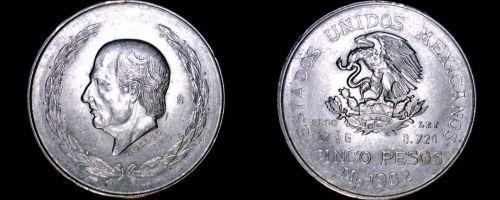 1952 Mexican 5 Peso World Silver Coin - Mexico