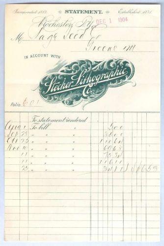 New York Rochester Letterhead / Billhead Stecher Lithographic Co. ~50