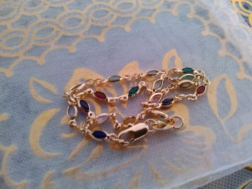 18K Yellow Gold Anklet Bracelet Chain with Crystals